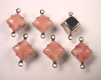 6 Vintage Pink Moonstone  Square Glass Connectors 8mm Silver Prong Settings 2 Ring Closed Back