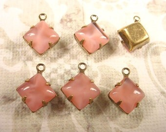 Vintage Pink Moonstone Glass Square Drops 8mm Brass Ox Prong Settings 1 ring Closed Back