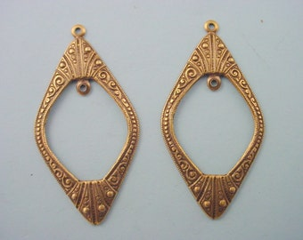 4 brass ox diamond shape hoop art nouveau Victorian inside loop charms 39mm