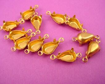 24 Brass Pear Prong Settings 10x6 2 Ring Closed Backs