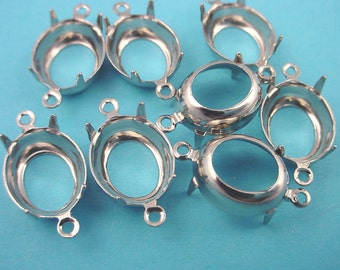 16 Silver Tone Oval Prong Settings 12x10 2 Ring Open Backs connectors