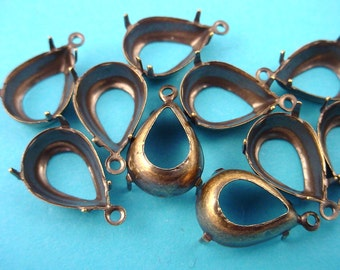 16 brass ox Pear Prong Settings 14x10 1 Ring open Backs