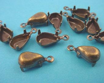 18 antique brass ox pear 10x6 setting prong close back 1 ring charms