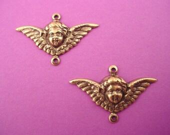 4 brass ox art nouveau Angel Cherub wing 2 loop connector charms 29mm
