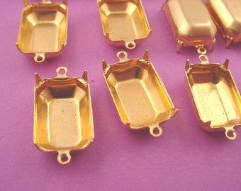 Brass Octagon Prong Setting 16x11 2 Ring Closed Back