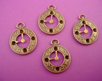 6 brass ox clock watch charms 3mm settings steampunk