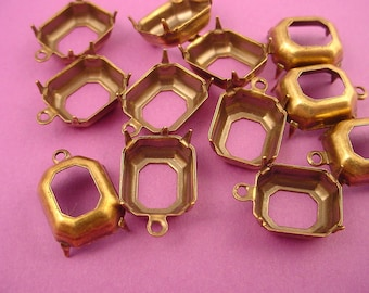 16 Brass Ox antique gold Octagon Prong 1 ring open back  Setting  12x10