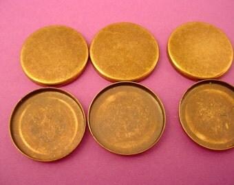 12 Brass Ox  Bezel Cups 15mm High Wall