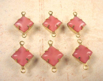 6 Vintage Rose Moonstone Glass Square Connectors 8mm Brass Prong Settings 2 Ring Closed Back