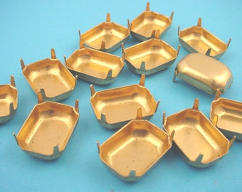 18 Brass Octagon Prong Settings 18x13 No Rings