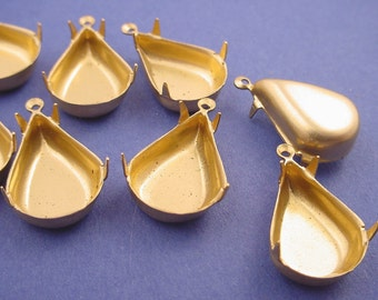 Brass Pear Prong Setting 18x12 1 Ring Closed Back - 12 Pieces