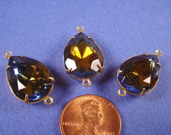 3 Vintage glass Sapphire and Topaz Teardrop Connectors 18x13  two tone