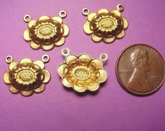 6 Brass Florette Connector Stampings 17x15