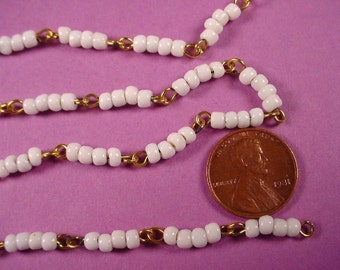 4 feet vintage White  glass Quad Bead Link Chain