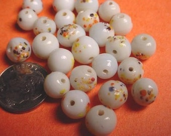 24 Vintage Japanese Glass White Speckled Color Beads 8mm