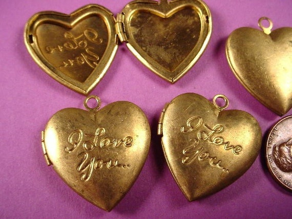 Old Stock Brass I Love You Heart Lockets