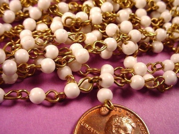 10 feet Vintage White Bead Link Chain