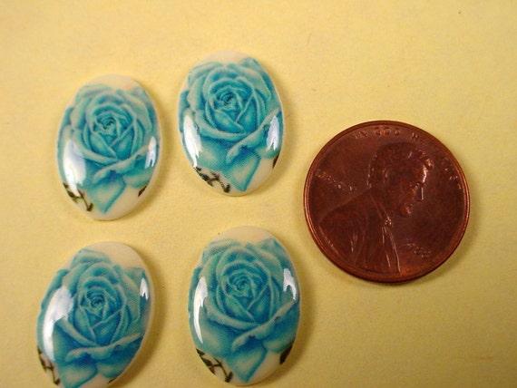 4 vintage  Blue rose decal cabochons   18x13
