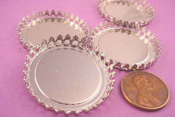 Silver tone Round Crown Edge Bezel Cups 30mm