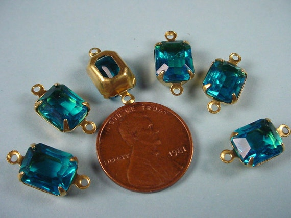 4 Vintage Blue Topaz Glass Octagon Connector Charms 10x8 Open back