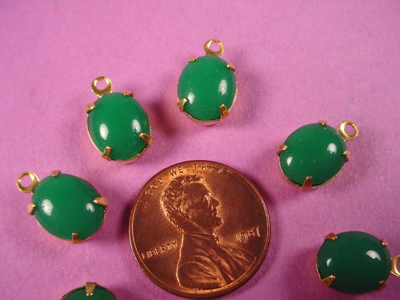 6 Vintage Jade Glass Oval Stone Drop Charms 10x8