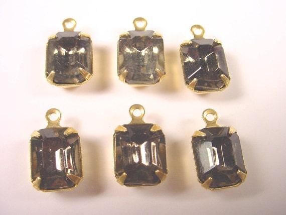 Vintage Black Diamond Octagon Rhinestone Drops 10x8 Brass Prong Settings 1 Ring Closed Backs