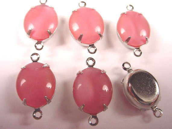 Vintage Pink Moonstone Oval Connectors 12x10 SILVER Prong Settings 2 Ring Closed Back