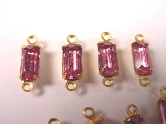 6 Vintage  light Pink Tourmaline Glass Octagon Connectors 8x4