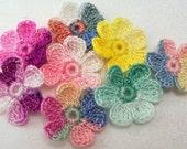 Crocheted Variegated Flowers - Set of 8