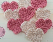 Crochet Heart Appliques - Dusty Rose and Natural