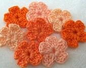 Crochet Orange Flowers X 8