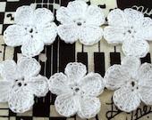 Crocheted White Flower Appliques