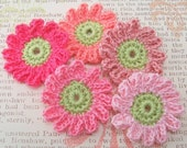 Crocheted Pink Flower Appliques