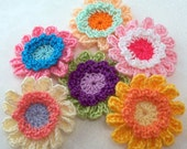 Crochet Fancy Colorful Flower Appliques