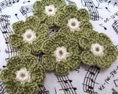 Crocheted Olive Flower Appliques