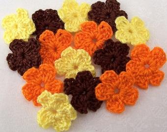 Crochet Flower Appliques|Brown Orange Yellow