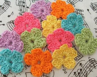 Crochet Flower Appliques - Funky Colors