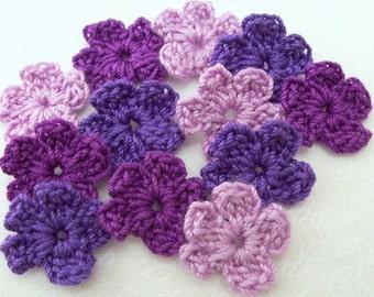Crochet Purple Flower Appliques