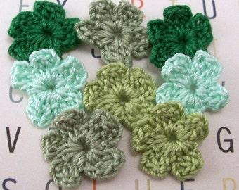 Crochet Green Flower Appliques, Set of 8