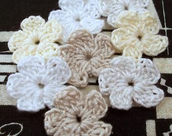 White Neutral Small Crochet Flowers