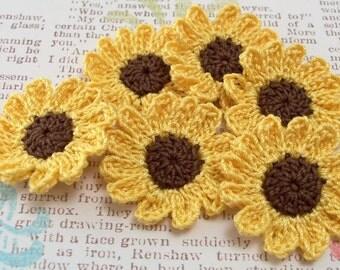 Crochet Sunflower Appliques