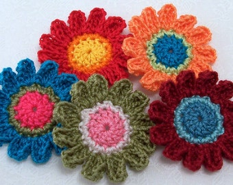 Crochet Colorful Flower Appliques