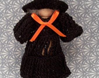 Crocheted Clothespin Witch Ornament
