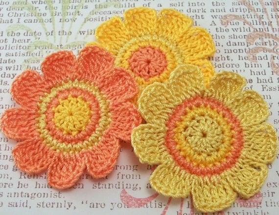 Crochet Flower Appliques| Orange and Yellow