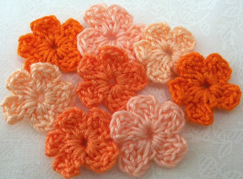crochet orange flowers x 8. Black Bedroom Furniture Sets. Home Design Ideas