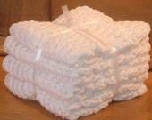 4 White crochet dishcloths