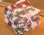 4 multi-color crochet dishcloths