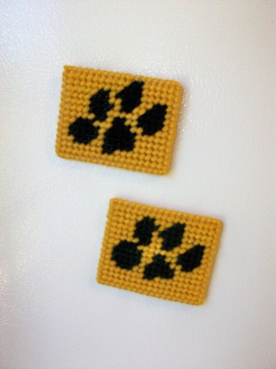 Paw Print Magnets - Refrigerator Magnets Handmade in Needlepoint - Set of Two Magnets