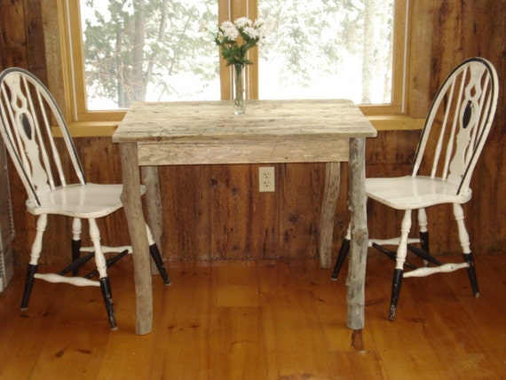 Driftwood dining room table 36x27x29h with 2 by for Dining room tables etsy