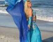 Rectangular belly dance silk veil Wadj-wer  design -  3 yards long